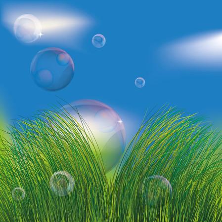soapy: Burbujas en la hierba. EPS10 Vectores