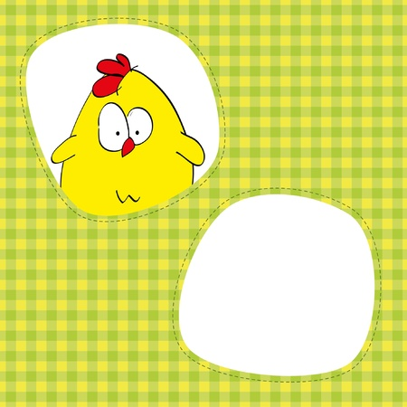 Card with cute chicken. Place for your picture or text. Vector