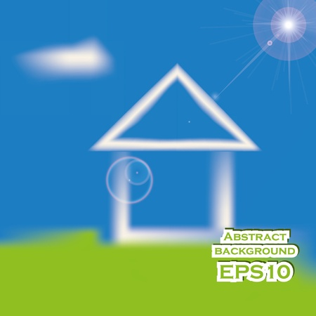 Abstract house on the sky background. EPS10  Vector