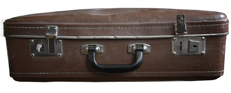 durty: Old dusty retro suitcase isolated on white background