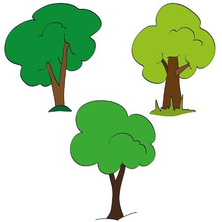 Set of green tree. Retro style Stock Vector - 9774404