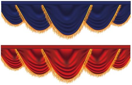 rideaux rouge: Rideaux bleus et rouges de vecteur