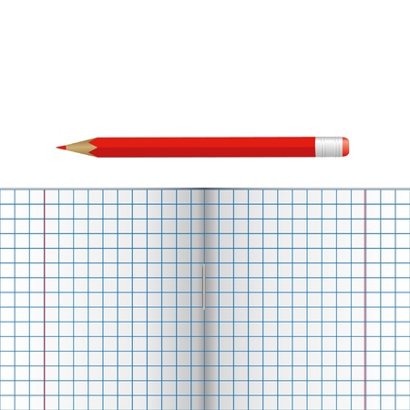 Notebook with pencil. Place for your text. Vector illustration Vector