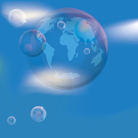 Planet earth in the bubble in the sky Stock Vector - 9774445