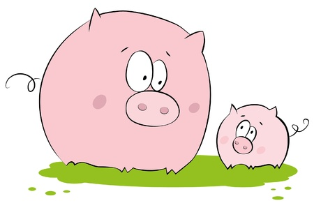 Porc drôle : mère et enfant