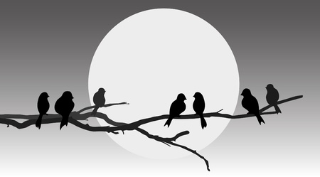 Birds sitting on a branch - abstract illustration Stock Vector - 9774411