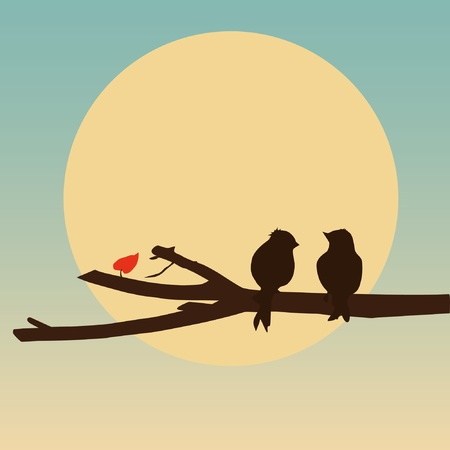 Birds sitting on a branch - abstract vector illustration.