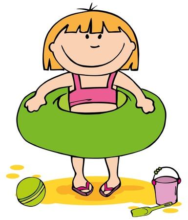 float: Little girl on the beach
