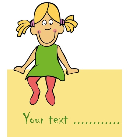 Cute funny girl is siting on the card Vector