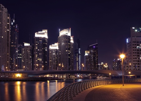 dubai mall: Town scape at night time. Panoramic scene, Dubai. Stock Photo