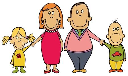 completato: Famiglia felice cartoon - madre, padre e figli Vettoriali