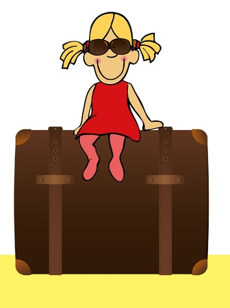 Funny girl is going to traveling with big suitcase. Vector