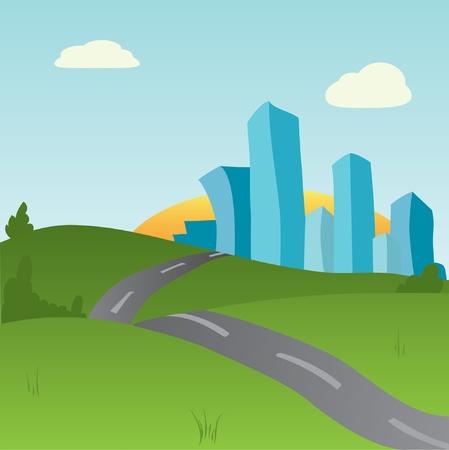 Summer cityscape . Vector illustration. EPS8 Stock Vector - 9774444