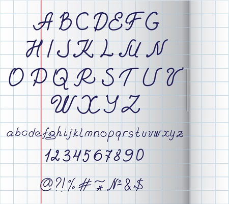Hand written alphabet on squared paper  Vector