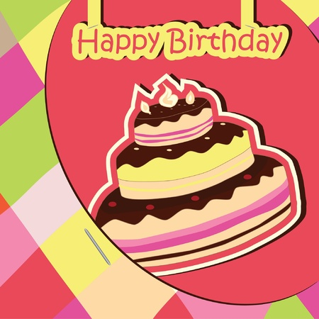 Colorful Birthday Card with cake. Vector illustration Vector