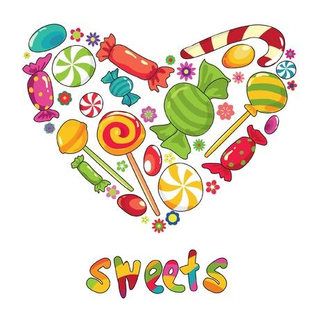 chupetines: Coraz�n de dulces. Ilustraci�n vectorial con diffetent tipos de dulces