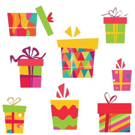Hand drawn cute gift box vector Stock Vector - 9774468