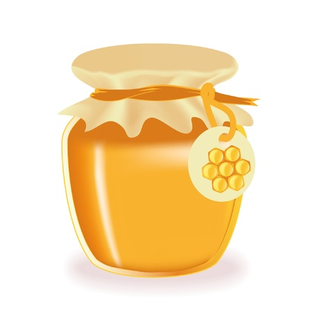 honey jar: Jar of honey isolated with label