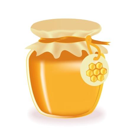 gold cans: Vasetto di miele isolato con etichetta  Vettoriali