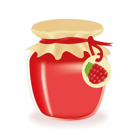 confiture: Jar of raspberry jam isolated