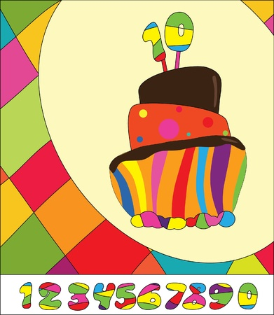 number candles: N�meros de tarta de cumplea�os. Tarjeta de felicitaci�n Vectores