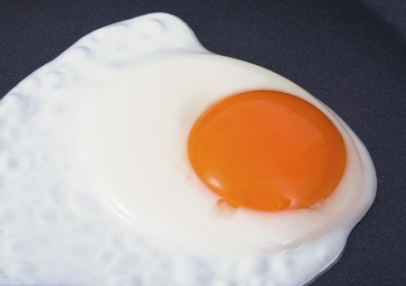 view of the Fried Egg on black pan photo
