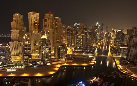 City in the night , Dubai Stock Photo