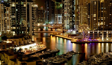 tourism industry: Town scape in the night. Dubai