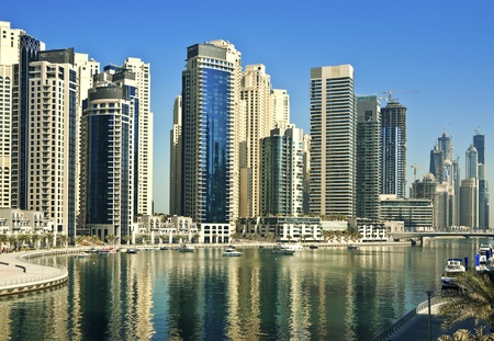 dubai mall: Town scape at summer. Dubai Marina. Stock Photo