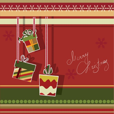 Christmas greeting card with gift boxes. Vector illustration. Stock Vector - 9843049