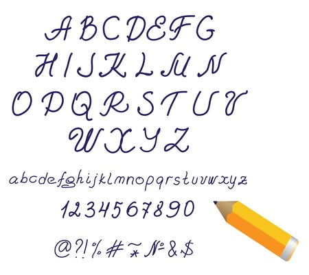 Alphabet hand written with pencil on the white baclground Vector