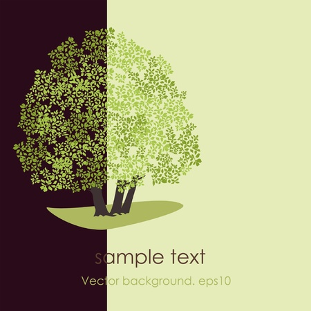 square root: Card with stylized vector tree Illustration