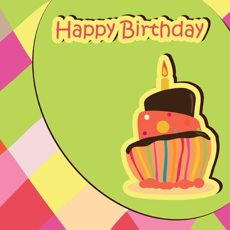 Colorful Birthday Card with cake. Stock Vector - 9934712