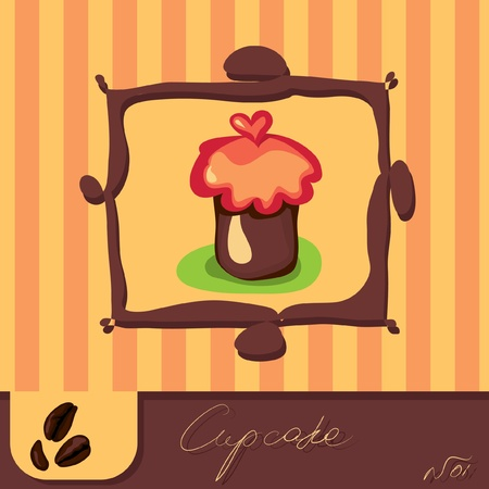 Cute retro Cupcake Stock Vector - 9934713