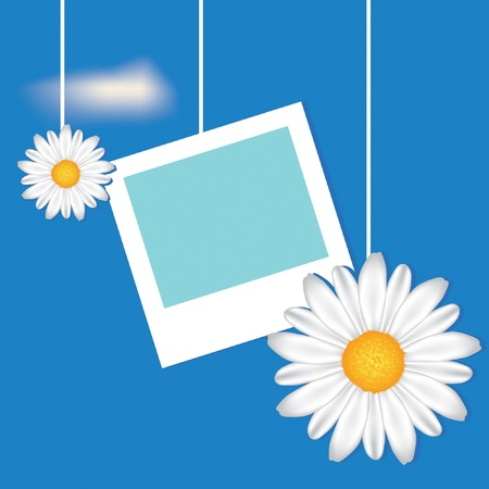 Card with frame and camomile on the sky background. EPS10