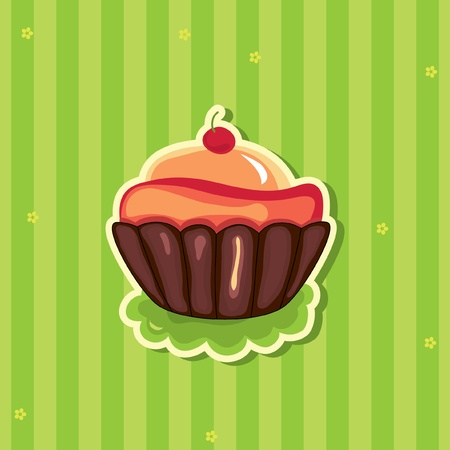 Cute retro Cupcake on striped background. Vector
