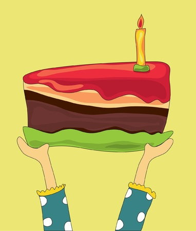 Hands holding a large birthday chocolate cake Vector