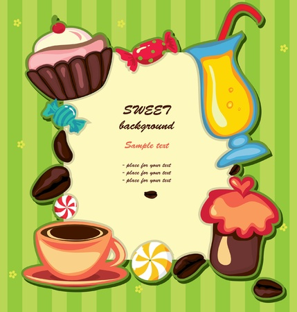 Coffee background with cupcake and sweets. May be used as menu  Vector