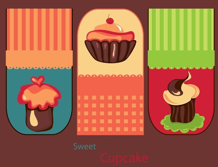 Set of cute Cupcakes Stock Vector - 9934710