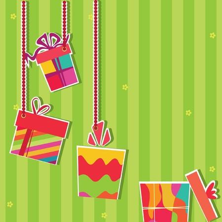 manic: Illustrazione di scatole regalo. Biglietto d'auguri