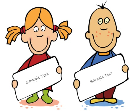 addressee: Funny cartoon kids ,boy and girl, holding empty card.