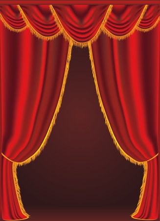illustration of a red curtains Vector