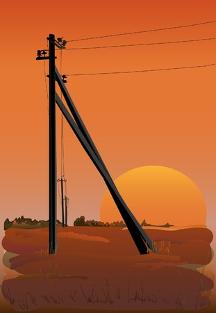 Electric power lines at sunset. Vector