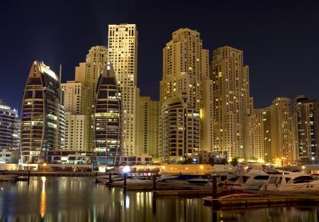 marina water: Night city  Editorial