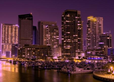 Night city. Panoramic view. Dubai photo