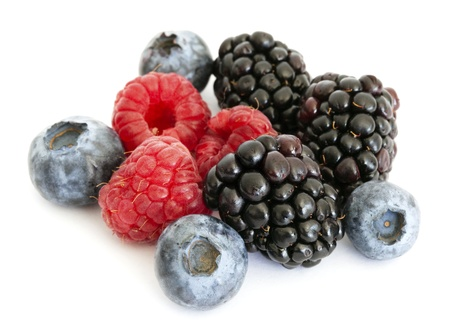 Blueberry, blackberry and raspberry on the white background