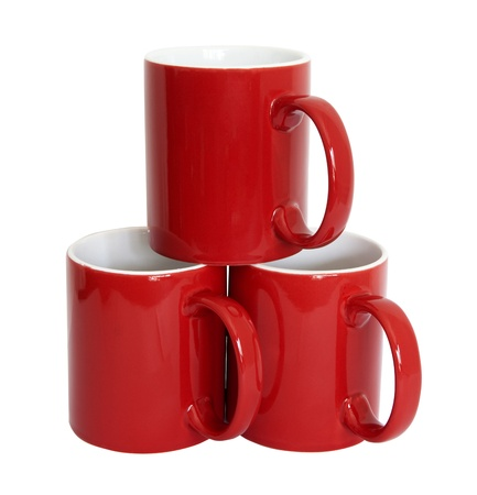 Red cups isolated on the white background photo