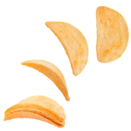 crispy: Potato chips isolated on white background