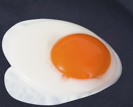 view of the Fried Egg on black pan Stock Photo - 9965002