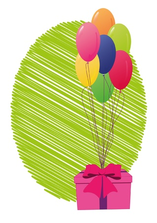 Greeting card with gift box and balloons Vector